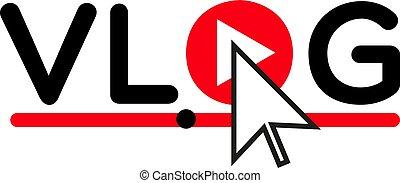 Vlog icon logo . Video blog concept