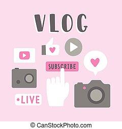 vlog, illustration., ícones