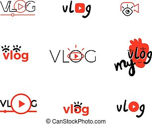 vlog - Vlog or video blogging or video channel buttons set. ...