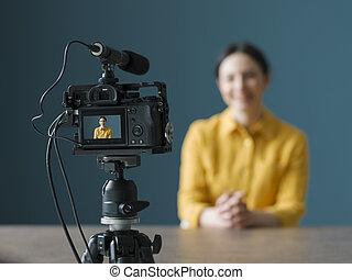 vlogger, モデル, 専門家, カメラ, 前部