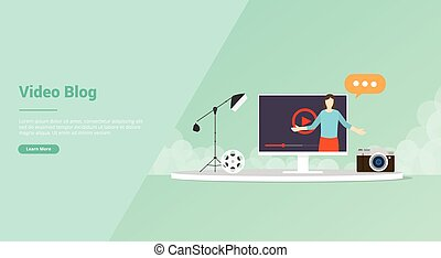vlogger or video content production for website template or ...