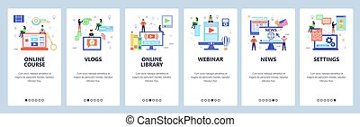 Vlogger web site and mobile app onboarding screens. Menu banner vector template for website and application development. Flat style design.