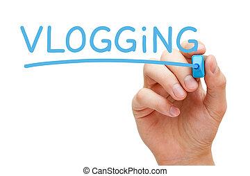 vlogging, azul, marcador
