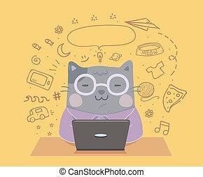 vlogging, ordinateur portable, illustration, chat