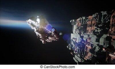 vloot, van, massief, spaceships, bekend, als, motherships,...