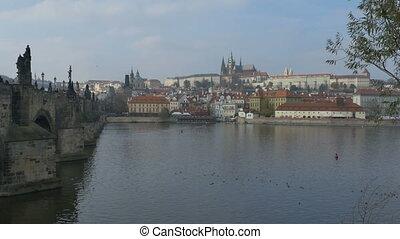 Vltava and Old Town Prague - View of Vltava river in Prague.
