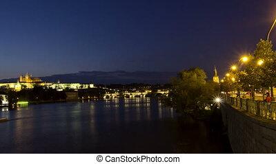 Vltava River and Charles Bridge at night. Prague. Czech Republic. Time Lapse.