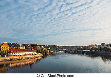 Vltava river and old downtown of Prague, the capital of Czech Republic