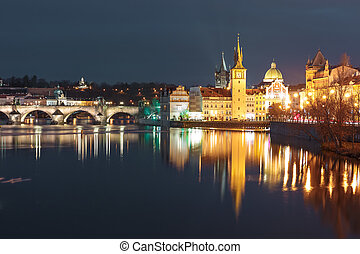 Vltava River and Old Town at night in Prague