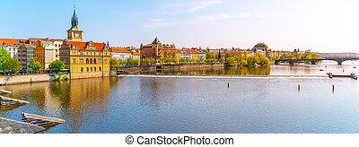 Vltava River and Smetana Embankment in Prague, Czech Republic