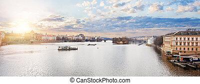 Vltava river in Prague Czech Republic. Prague panorama