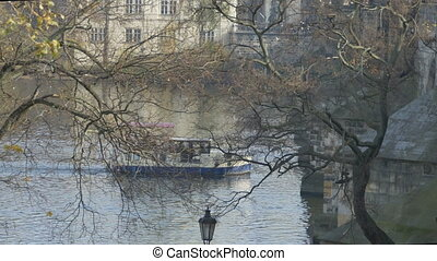 Vltava River near Charles Bridge - Vltava river flowing near...