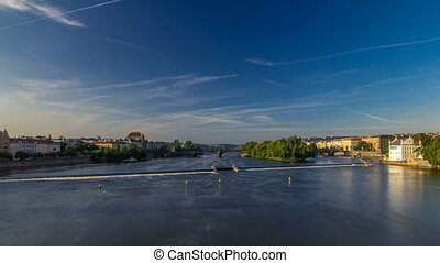 Vltava river timelapse hyperlapse in district Strelecky...