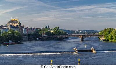 Vltava river timelapse in district Strelecky ostrov with the...