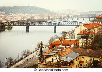Vltava river view with bridges