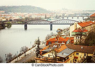 Vltava river view with bridges
