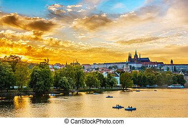 Vltava river with boats, Prague, Czech Republic