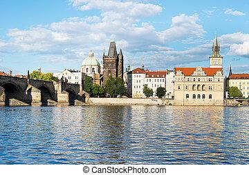 Vltava River with Charles Bridge in Prague