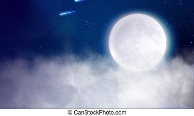 vlucht, boven de bewolking, met, maan