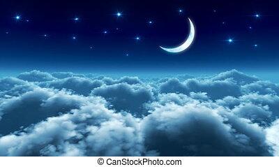 vlucht, op, wolken, nacht