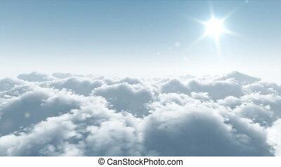 vlucht, op, wolken