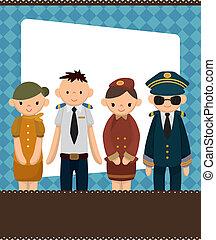 vlucht, spotprent, kaart, attendant/pilot