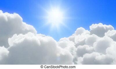 vlucht, zonnig, op, wolken
