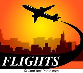vluchten, schaaf, optredens, gaan, op, verlof, en, vliegtuig