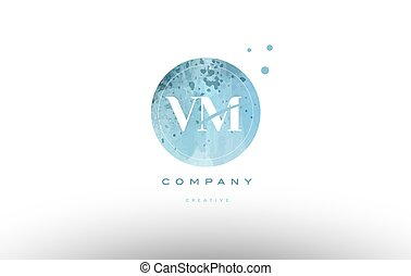 vm v m watercolor grunge vintage alphabet letter logo