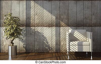 vnitřek navrhovat, o, betonový hradba, s, lenoška