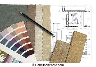 vnitřní, šicí stolek, design