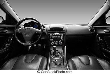 vnitřní, automobil, moderní, názor