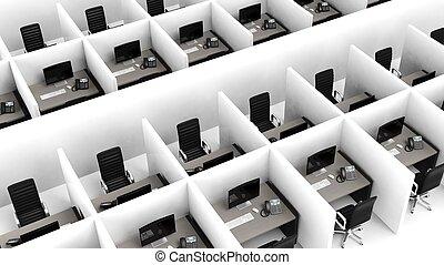 vnitřní, cubicles, moderní, úřad