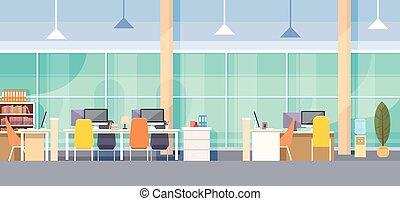 vnitřní, moderní, pracoviště, úřadovna lavice