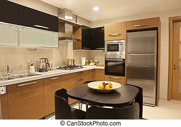 vnitřní, o, moderní, kuchyně