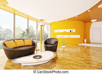 vnitřní, o, moderní obývací, místo, 3, render