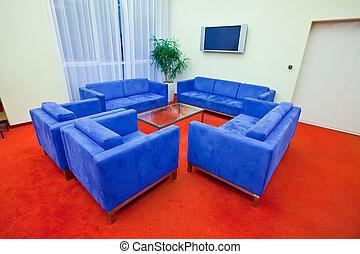 vnitřní, o, moderní obývací, místo