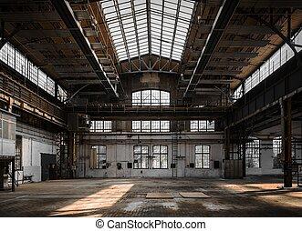 vnitřní, průmyslový, dávný, továrna