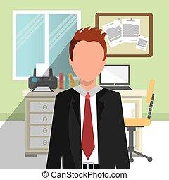 vnitřní, pracoviště, úřad