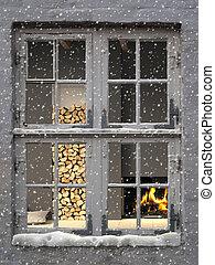 vnitřní, zima, útulný, sněžit