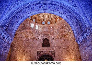 voûte, albencerrajes, grenade, bleu, maure, alhambra, mur, ...