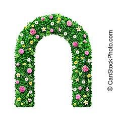voûte, mariage, fleur, roses, décoratif, vert