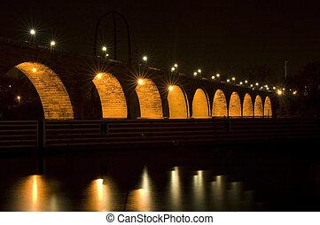 voûte pierre, sous, lumières, pont