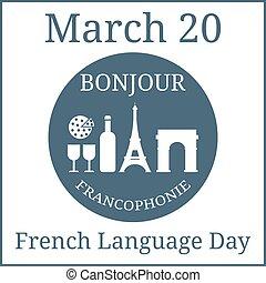 voûte, vacances, mars, illustration., langue, icônes, set., eiffel, francais, day., calendar., vecteur, tour, vin, triomphal, cheese., 20.