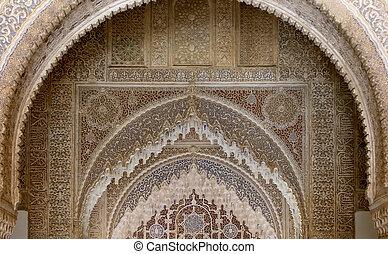 voûtes, (moorish), style, grenade, alhambra, espagne, islamique