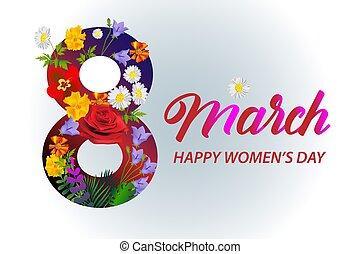 voador, 8, flowers., bandeira, março, decoração, internacional, mulheres, day.