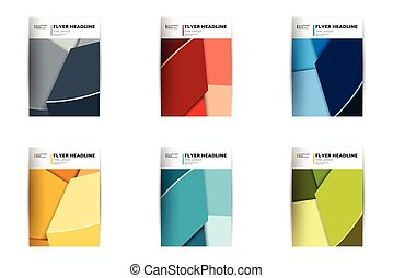 voador, anual, cobertura, cor, vário, folheto, relatório, design., templates.