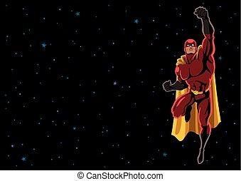 voando, 2, superhero, espaço