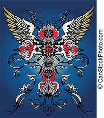 voando, asa, crucifixos, tribal, heraldic, emblema