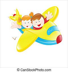 voando, avião, crianças